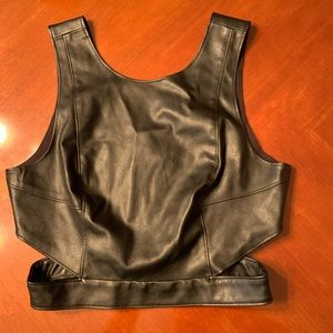 Kendall and Kylie Faux Leather Crop Top